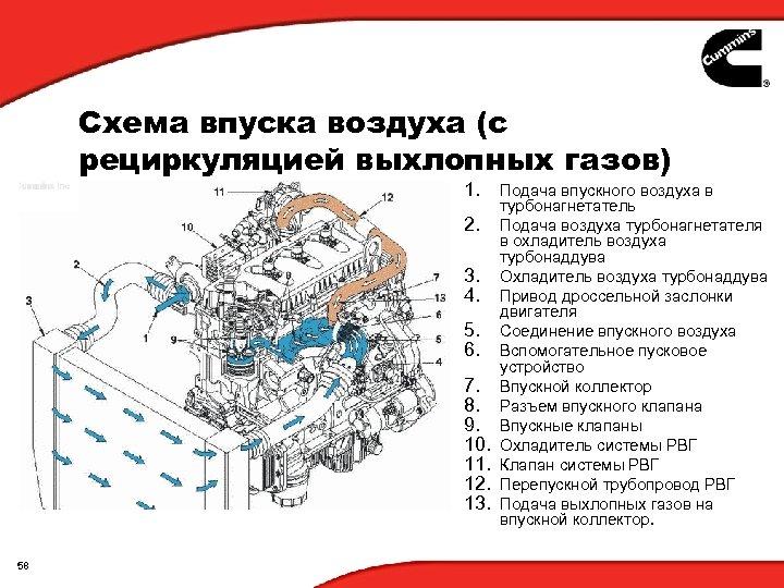 Схема впуска воздуха (с рециркуляцией выхлопных газов) 1. 2. 3. 4. 5. 6. 7.