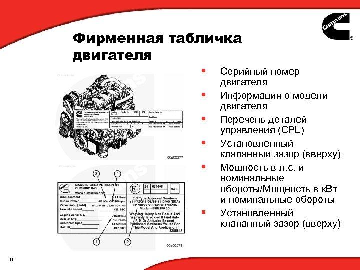 Фирменная табличка двигателя § § § 6 Серийный номер двигателя Информация о модели двигателя