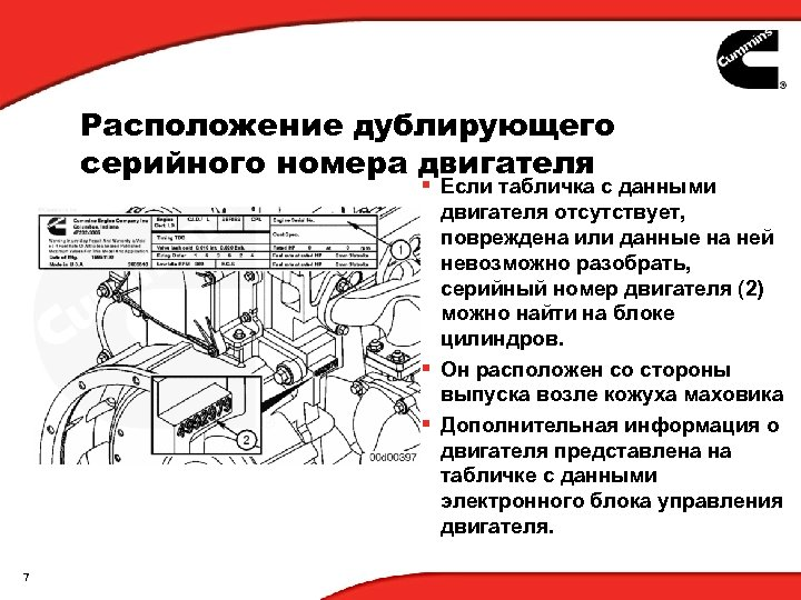 Расположение дублирующего серийного номера двигателя § Если табличка с данными двигателя отсутствует, повреждена или