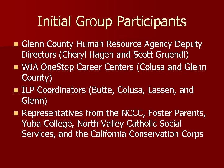 Initial Group Participants n n Glenn County Human Resource Agency Deputy Directors (Cheryl Hagen
