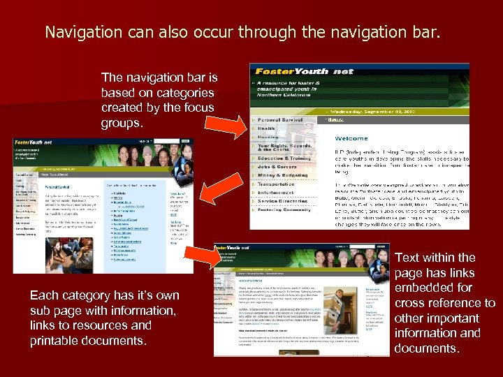 Navigation can also occur through the navigation bar. The navigation bar is based on