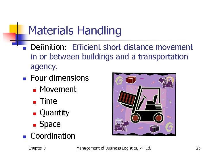 Materials Handling n n n Definition: Efficient short distance movement in or between buildings