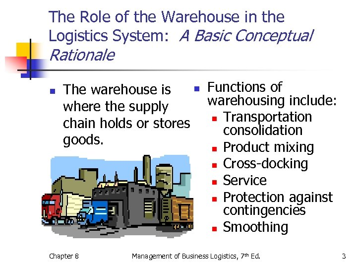 The Role of the Warehouse in the Logistics System: A Basic Conceptual Rationale n