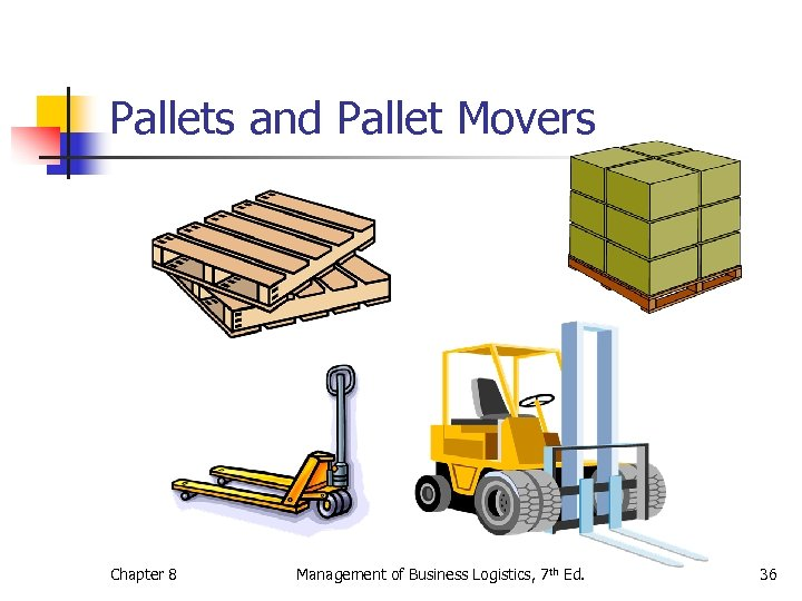 Pallets and Pallet Movers Chapter 8 Management of Business Logistics, 7 th Ed. 36