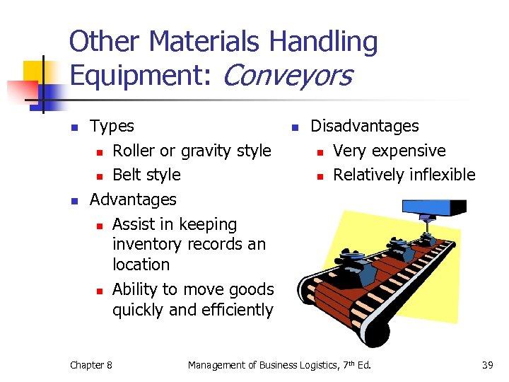 Other Materials Handling Equipment: Conveyors n n Types n Roller or gravity style n