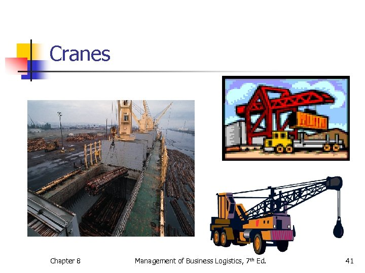 Cranes Chapter 8 Management of Business Logistics, 7 th Ed. 41
