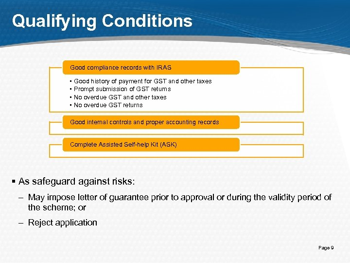 Qualifying Conditions Good compliance records with IRAS • • Good history of payment for
