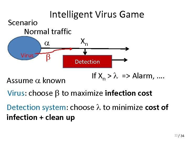 Intelligent Virus Game Scenario Normal traffic a Virus b Xn Detection If Xn >
