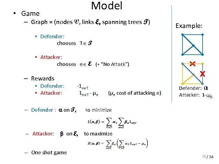 • Game Model – Graph = (nodes V, links E, spanning trees T)