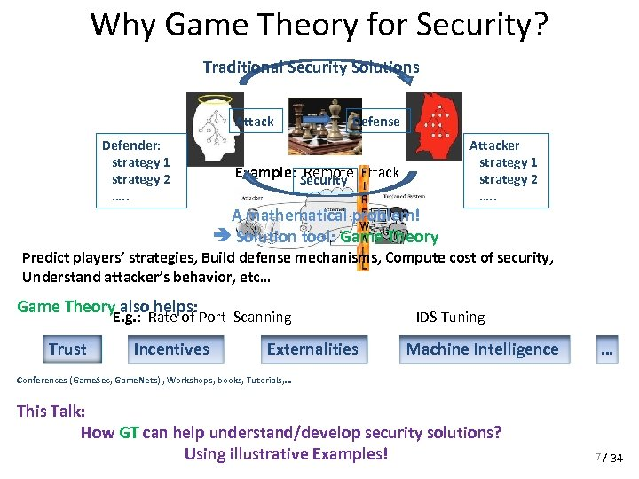 Why Game Theory for Security? Traditional Security Solutions Attack Defender: strategy 1 strategy 2