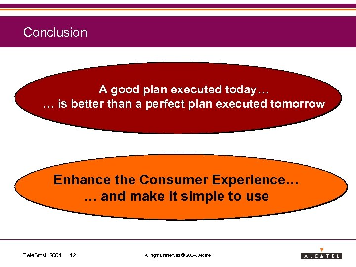 Conclusion A good plan executed today… … is better than a perfect plan executed
