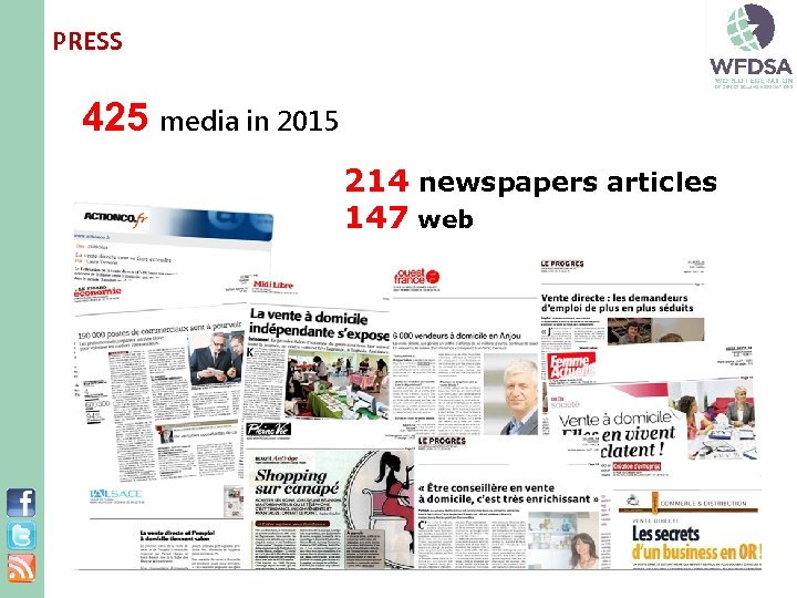 PRESS 425 media in 2015 214 newspapers articles 147 web