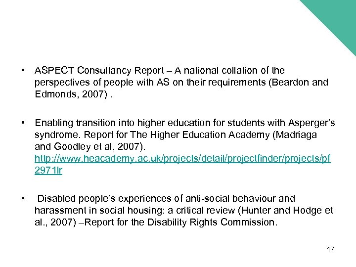 • ASPECT Consultancy Report – A national collation of the perspectives of people