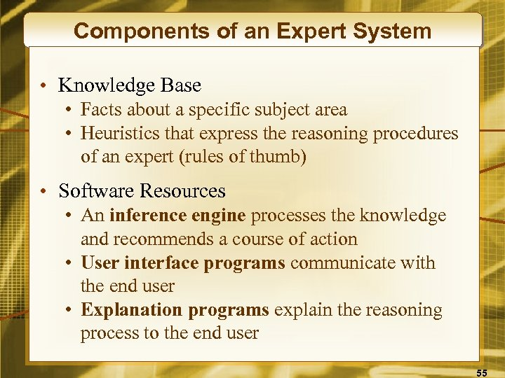 Components of an Expert System • Knowledge Base • Facts about a specific subject