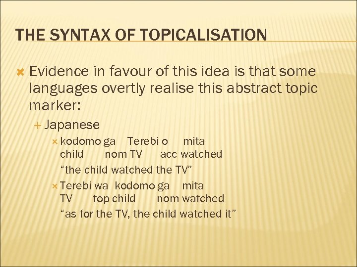 THE SYNTAX OF TOPICALISATION Evidence in favour of this idea is that some languages
