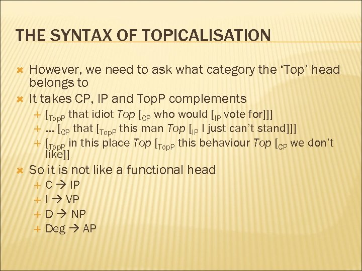 THE SYNTAX OF TOPICALISATION However, we need to ask what category the 'Top' head