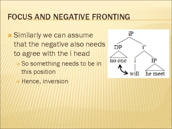 FOCUS AND NEGATIVE FRONTING Similarly we can assume that the negative also needs to