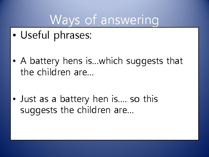 Ways of answering • Useful phrases: • A battery hens is…which suggests that the