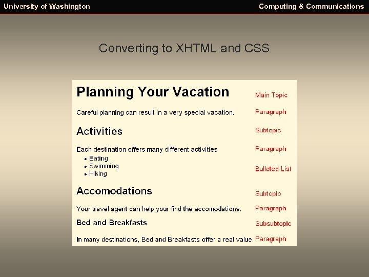 University of Washington Computing & Communications Converting to XHTML and CSS
