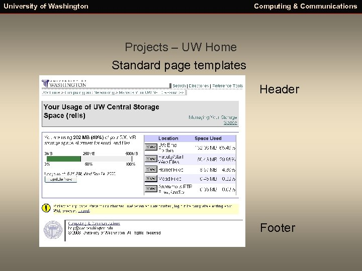 University of Washington Computing & Communications Projects – UW Home Standard page templates Header