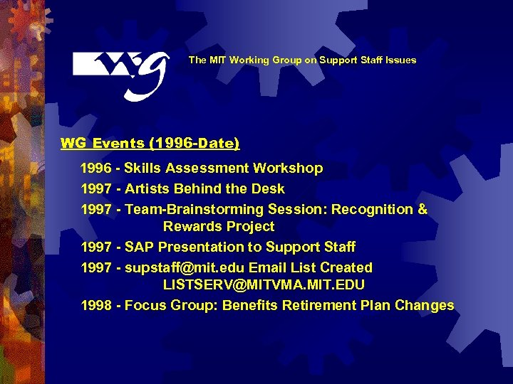 The MIT Working Group on Support Staff Issues WG Events (1996 -Date) 1996 -