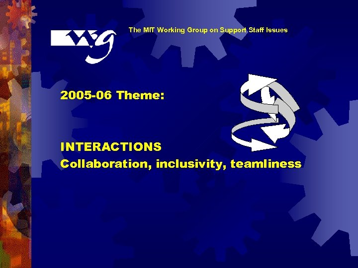 The MIT Working Group on Support Staff Issues 2005 -06 Theme: INTERACTIONS Collaboration, inclusivity,