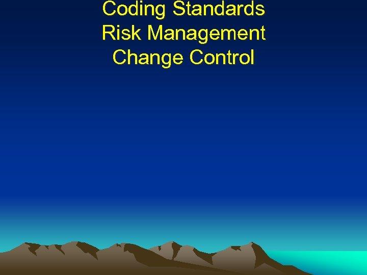 Coding Standards Risk Management Change Control