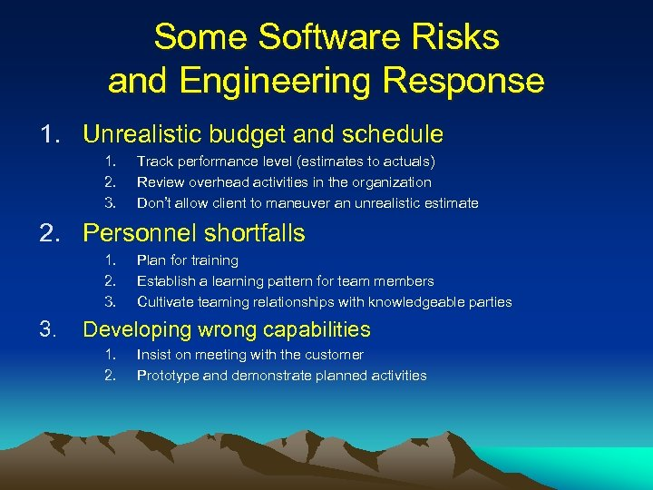 Some Software Risks and Engineering Response 1. Unrealistic budget and schedule 1. 2. 3.