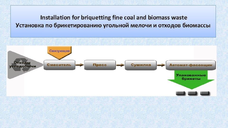 Installation for briquetting fine coal and biomass waste Установка по брикетированию угольной мелочи и
