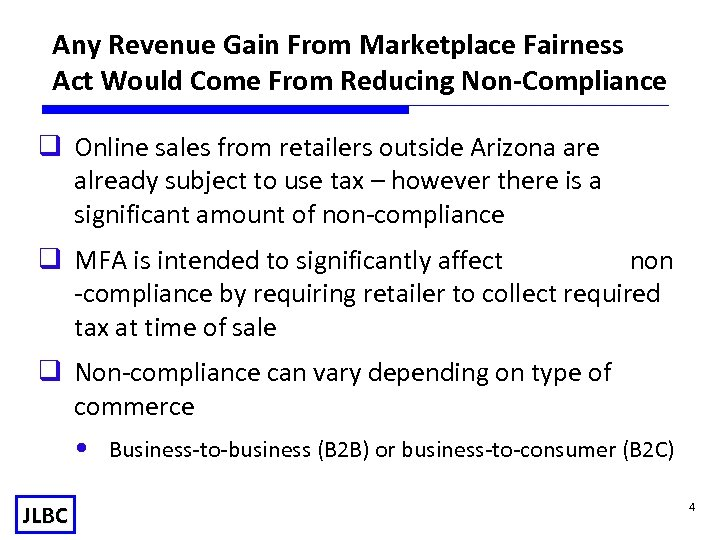 Any Revenue Gain From Marketplace Fairness Act Would Come From Reducing Non-Compliance q Online