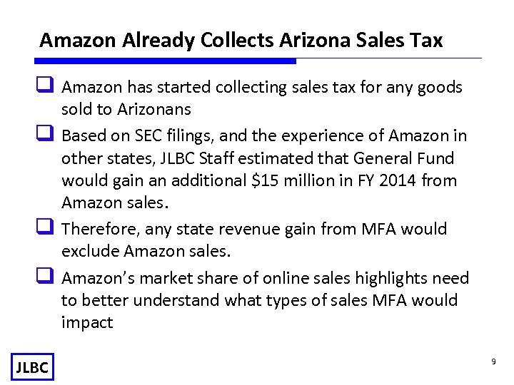 Amazon Already Collects Arizona Sales Tax q Amazon has started collecting sales tax for