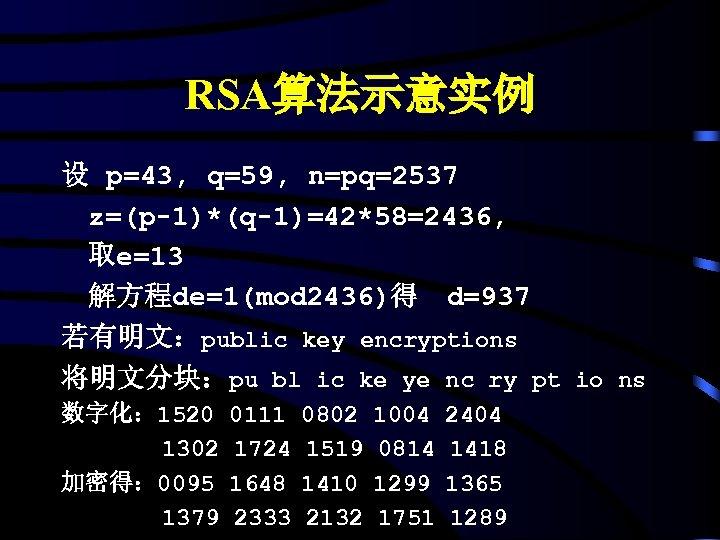 RSA算法示意实例 设 p=43, q=59, n=pq=2537 z=(p-1)*(q-1)=42*58=2436, 取e=13 解方程de=1(mod 2436)得 d=937 若有明文:public key encryptions 将明文分块:pu bl