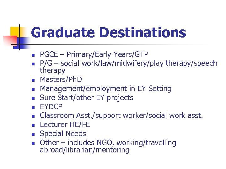 Graduate Destinations n n n n n PGCE – Primary/Early Years/GTP P/G – social