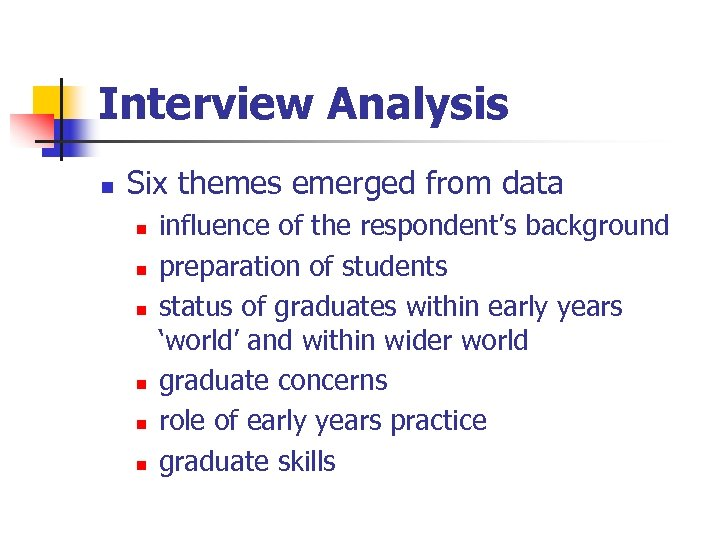 Interview Analysis n Six themes emerged from data n n n influence of the