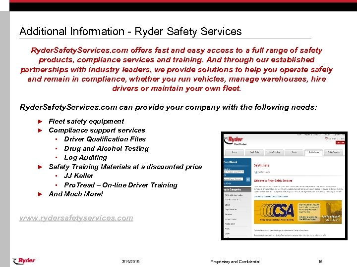 Additional Information - Ryder Safety Services Ryder. Safety. Services. com offers fast and easy