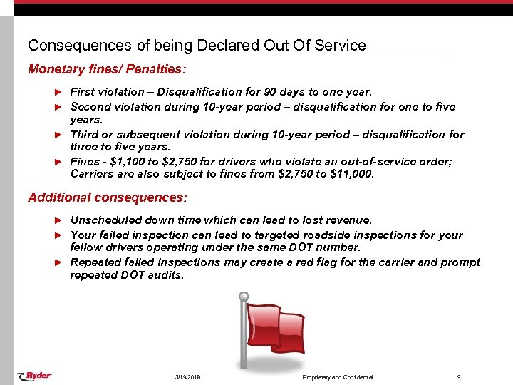Consequences of being Declared Out Of Service Monetary fines/ Penalties: ► First violation –