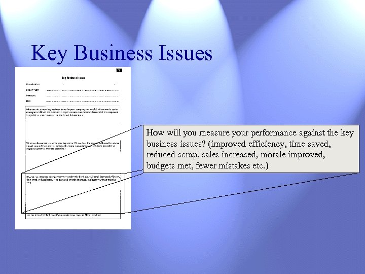 Key Business Issues How will you measure your performance against the key business issues?