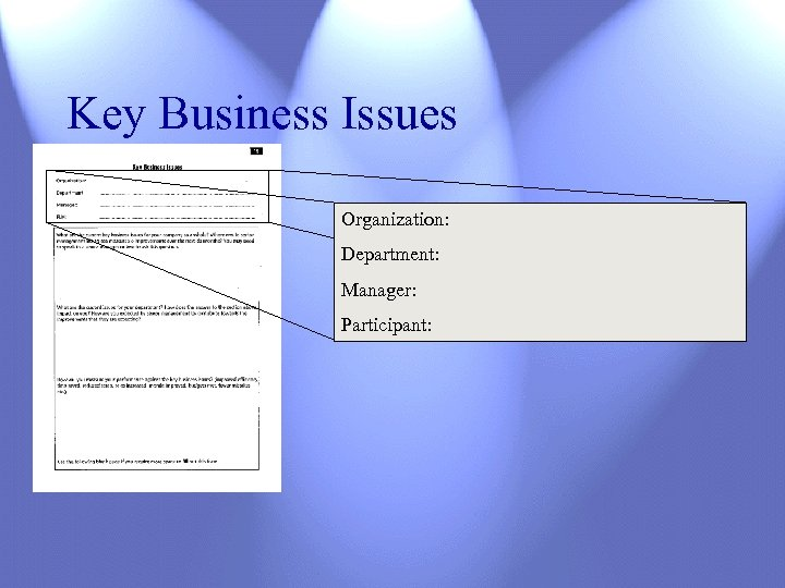 Key Business Issues Organization: Department: Manager: Participant: