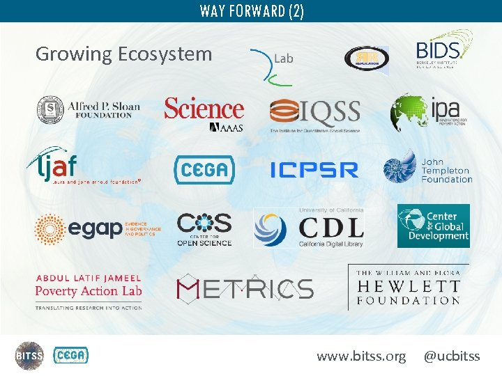 WAY FORWARD (2) Growing Ecosystem www. bitss. org @ucbitss