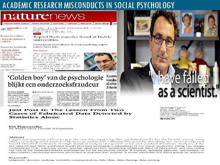 ACADEMIC RESEARCH MISCONDUCTS IN SOCIAL PSYCHOLOGY