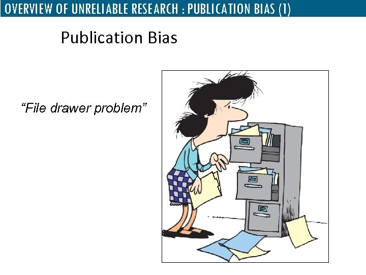 "OVERVIEW OF UNRELIABLE RESEARCH : PUBLICATION BIAS (1) Publication Bias ""File drawer problem"""