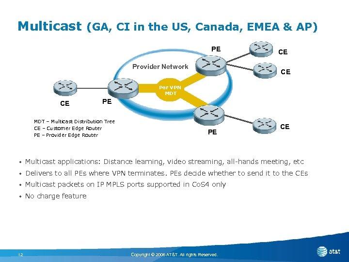 Multicast (GA, CI in the US, Canada, EMEA & AP) PE Provider Network CE