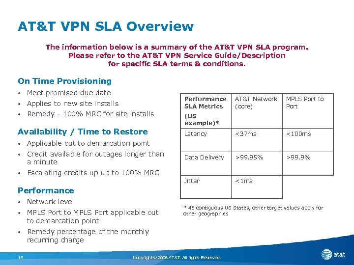 AT&T VPN SLA Overview The information below is a summary of the AT&T VPN