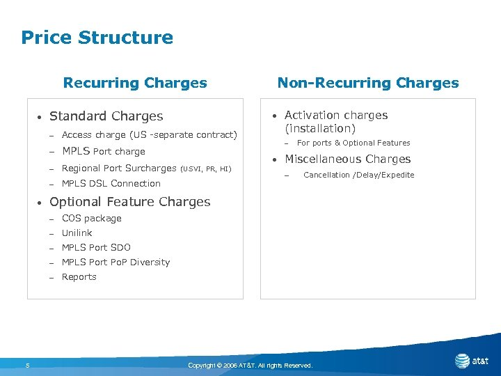 Price Structure Recurring Charges • Standard Charges • – Access charge (US -separate contract)