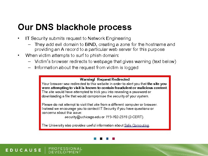 Our DNS blackhole process • • IT Security submits request to Network Engineering –