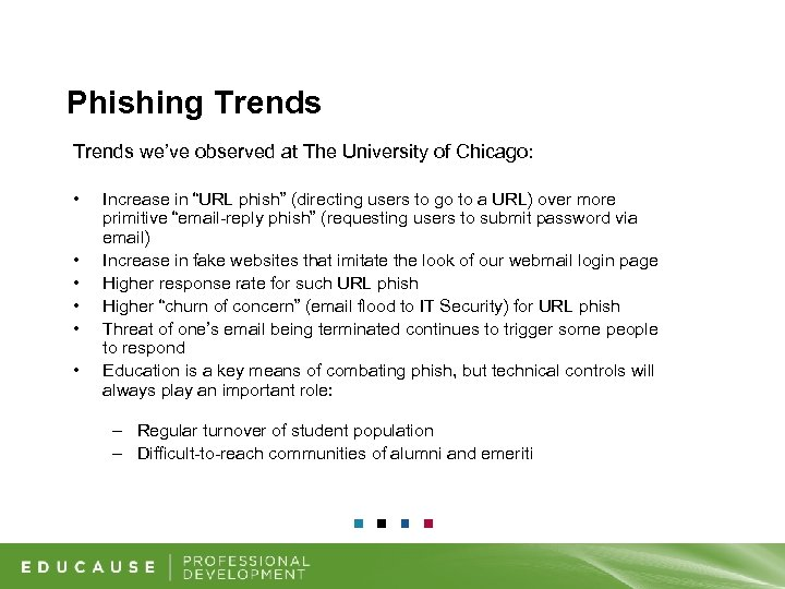Phishing Trends we've observed at The University of Chicago: • • • Increase in