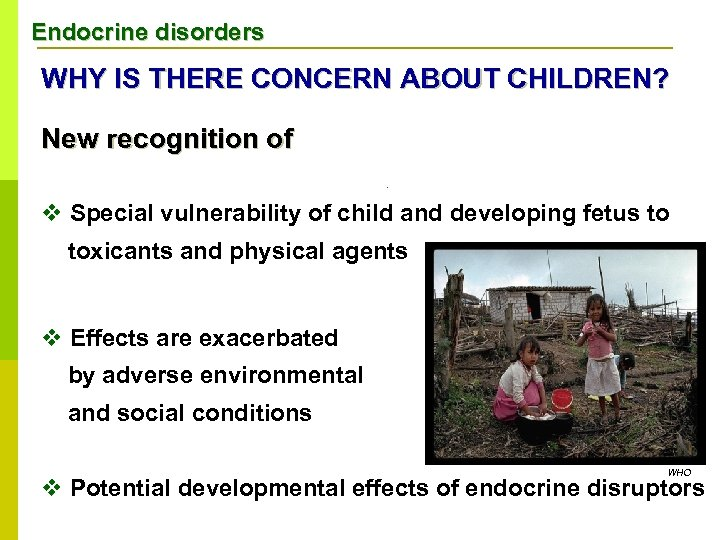 Endocrine disorders WHY IS THERE CONCERN ABOUT CHILDREN? WHY New recognition of v v