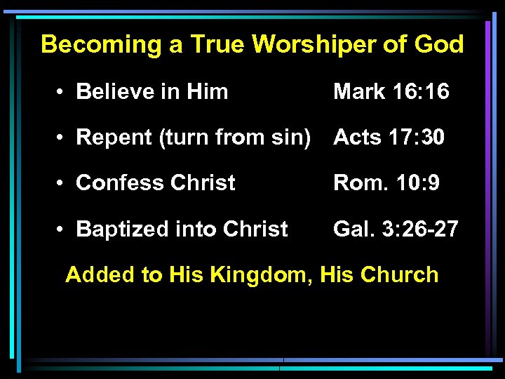 Becoming a True Worshiper of God • Believe in Him Mark 16: 16 •