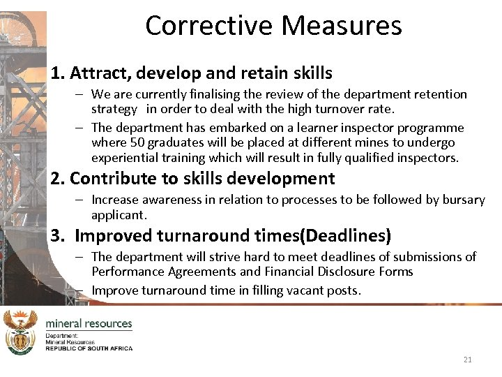 Corrective Measures 1. Attract, develop and retain skills – We are currently finalising the