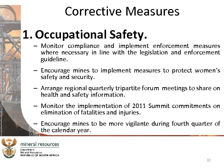 Corrective Measures 1. Occupational Safety. – Monitor compliance and implement enforcement measures where necessary